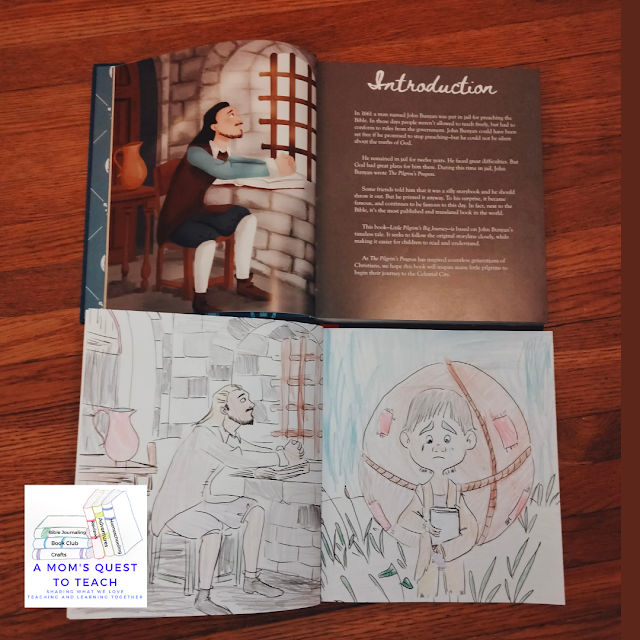 A Mom's Quest to Teach: Using Classics to Teach About God: A Review of Little Pilgrim's Big Journey - pages from book and coloring book of John Bunyan