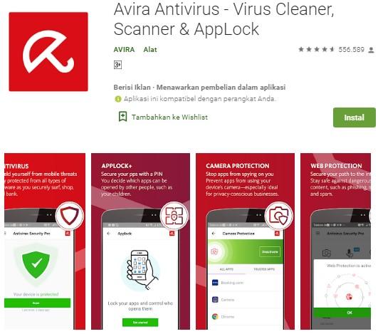 Antivirus Terbaik Untuk Android - Avira Antivirus Security