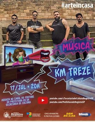 Sexta tem Rock'n roll em live da Banda KM TREZE no Arte In Casa