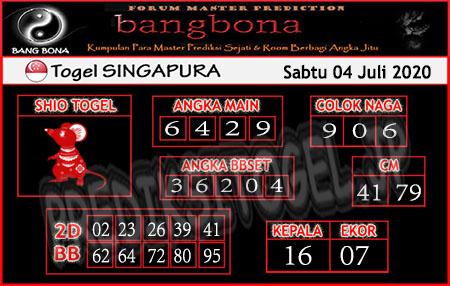 Prediksi Bangbona Singapura SGP Sabtu 04 Juli 2020