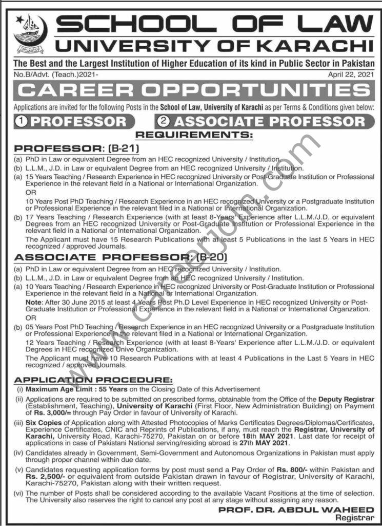 University of Karachi Jobs 2021 in Pakistan