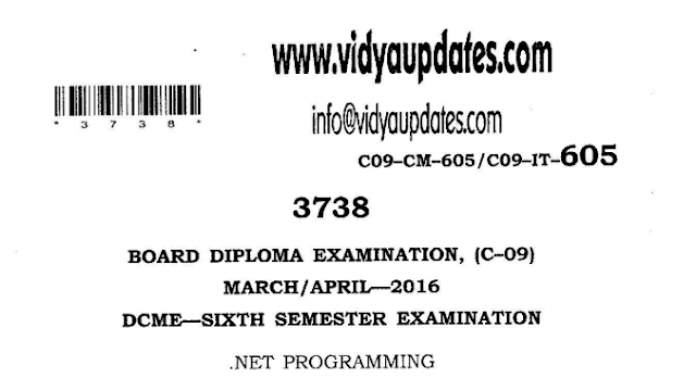 .NET PROGRAMMING PREVIOUS QUESTION PAPER SBTETAP C09 C14 C16