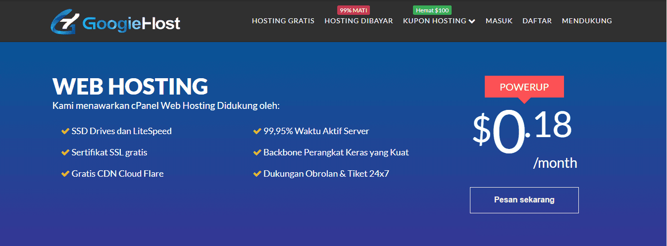 GoogieHost penyedia hosting gratis