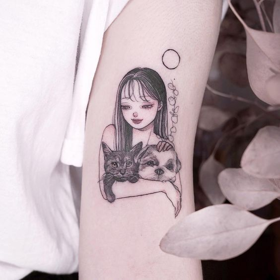 Anime Girl with cat Tattoo on sleeve