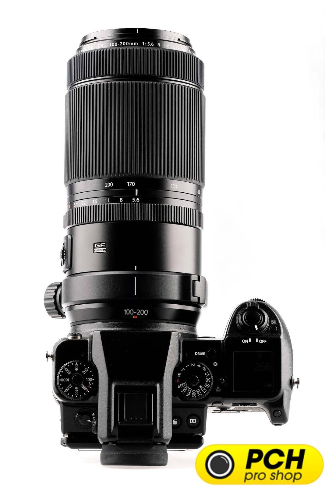Объектив Fujinon GF 100-200mm f/5.6 R LM OIS WR с камерой Fujifilm GFX 50S, вид сверху
