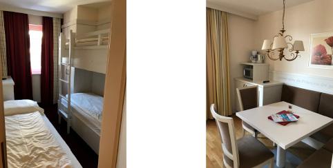 Elternschlafzimmer und Bad im Familienhotel Hopfgarten****