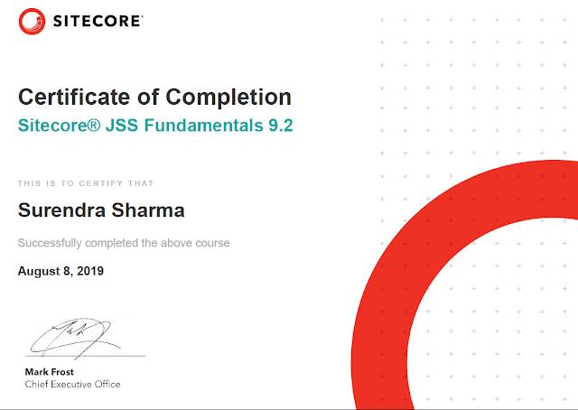 Sitecore JSS Fundamentals 9.2 certificate