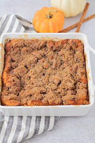 This baked pumpkin french toast is the perfect make-ahead breakfast for fall! It's so rich and delicious, and so easy to make!