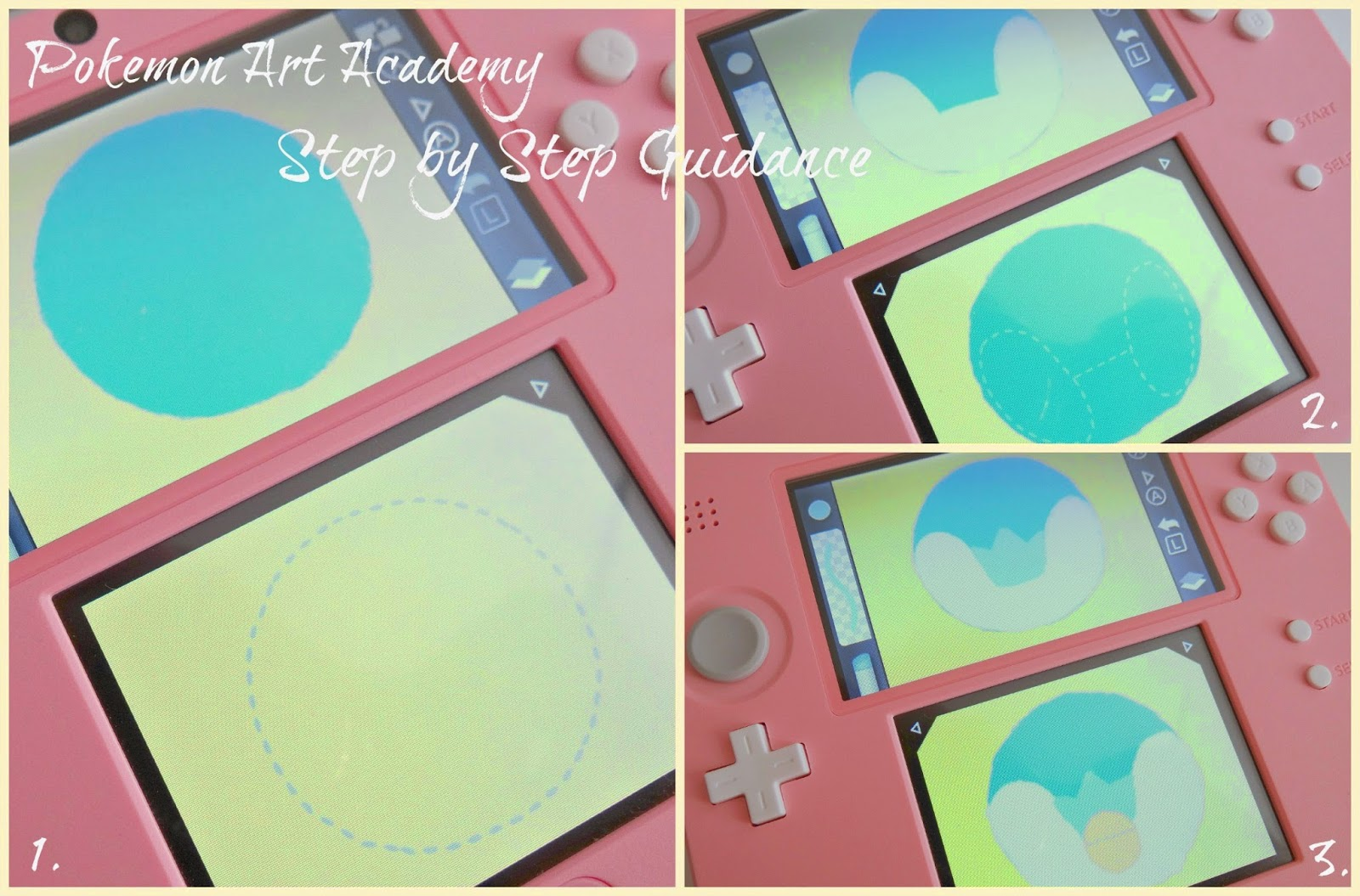 Pokemon Art Academy 3DS, Pink and White 2DS, drawing software tutorial