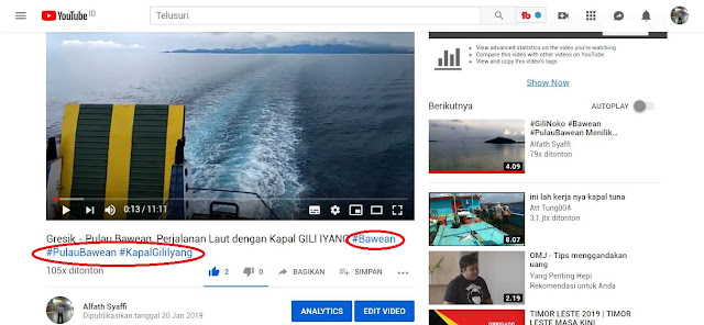 Hastag YouTube di Video