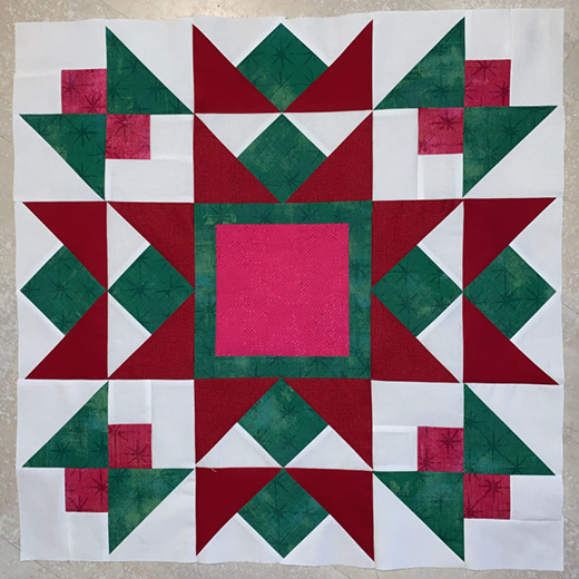 Snowfall Quilt Block designed by Lisa Jo Girodat of Neverlandstitches for Moda bake shop