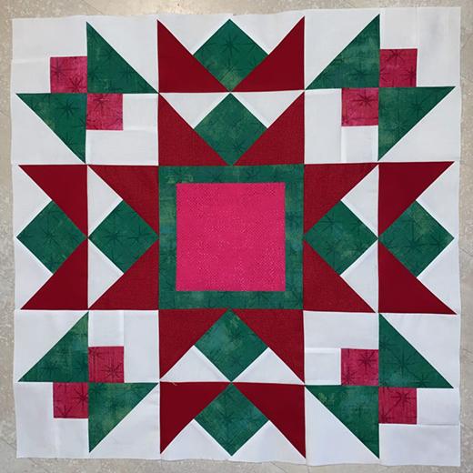 Snowfall Quilt Block designed by Lisa Jo Girodat of Neverlandstitches for Moda bake shop