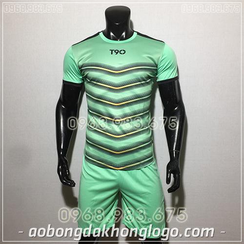 Áo bóng đá ko logo T90 LEG màu xanh ngọc