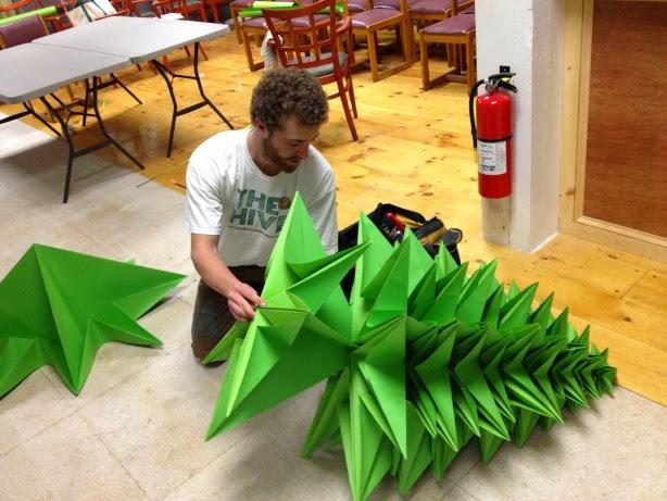 Brad de Craciun din hartie (module origami)