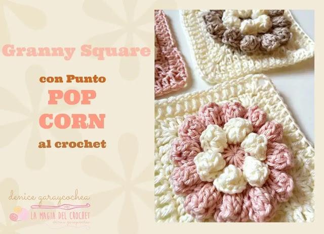 Granny de Flor Pop Corn a Crochet
