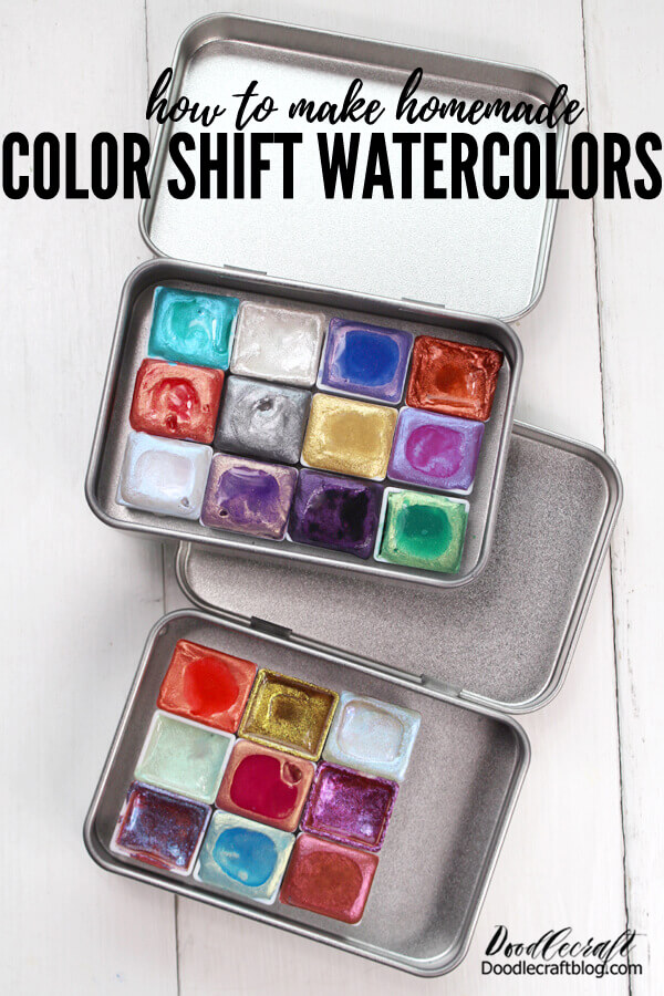 How to Make Color Shift Watercolors! Learn how to make your own homemade color shift watercolors. Color shifting watercolors are amazing! They can be pricey and hard to acquire...I know, I've tried!   I decided the best way to get what I wanted was to make it myself. It's hard to find a great tutorial on homemade watercolors, so this tutorial is my gift to you! This tutorial is all the tips and tricks, supplies and process needed for making your own homemade watercolors.