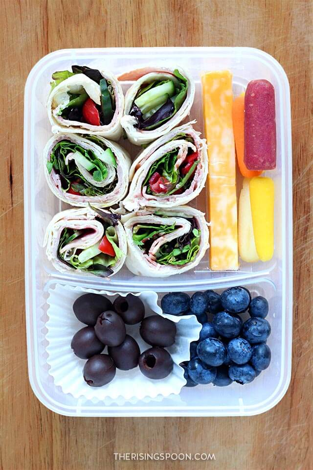 Healthy Make-Ahead Cold Lunch Idea (For Back to School & Work): Tortilla Roll-Ups (Pinwheels), Olive & Berries