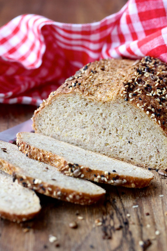 This Ten-Grain No Knead Bread is loaded with fiber, protein, and nutrition.