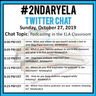 Join secondary English Language Arts teachers Sunday evenings at 8 pm EST on Twitter. This week's chat will be about teaching podcasts in the ELA classroom.