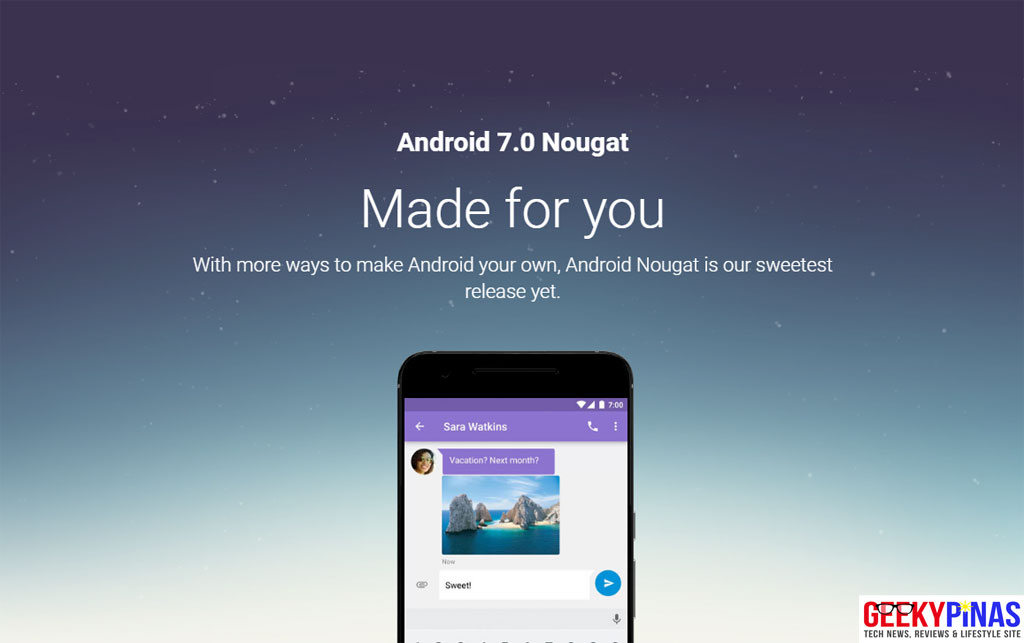 Android 7.0 Nougat Website