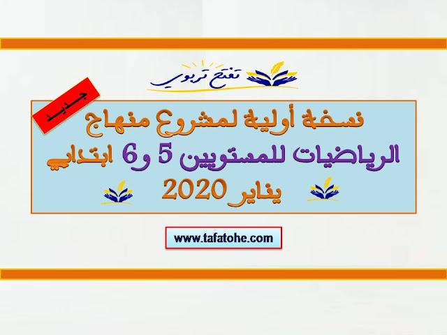نسخة أولية لمشروع منهاج الرياضيات للمستويين 5 و 6 ابتدائي 2020
