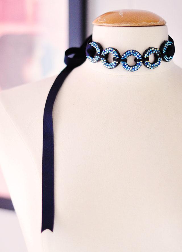 DIY looping circles crystal necklace choker accessory