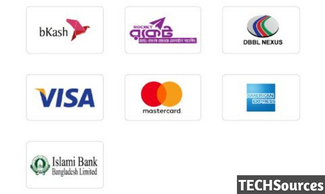 bKash, BBBL NEXUS, MasterCard, VISA, AMERICAN EXPRESS, Islami Bank Bangladesh Limited.