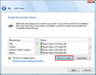 cara instal printer dot matrix epson lq 2170 di win7