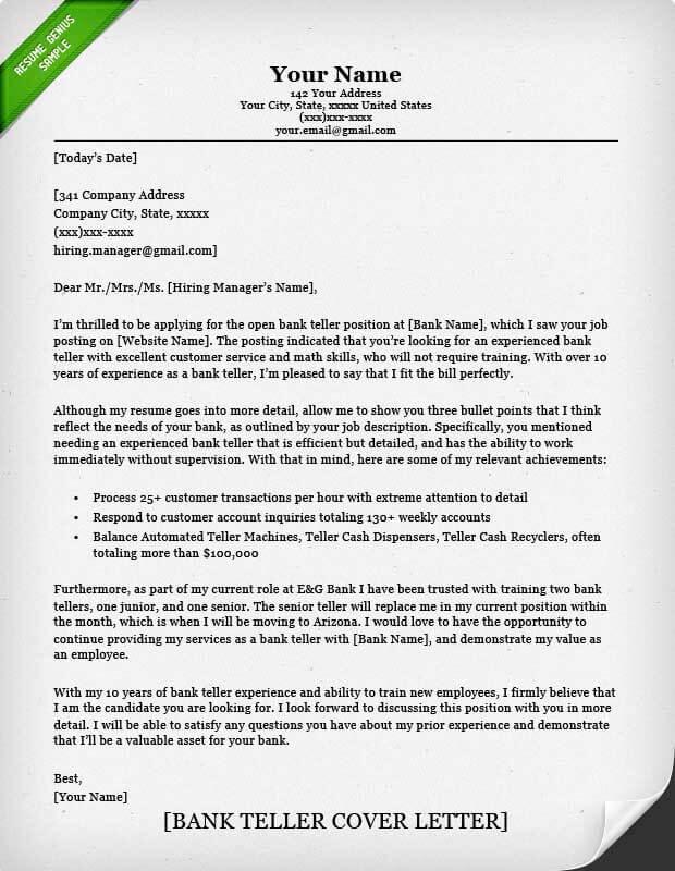 banking cover letter sample