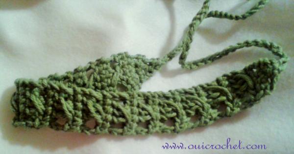 Crochet, Crochet Accessories, Crochet Headband, Crochet Tie Headband, Free Crochet Pattern, Crossed Stitch Tie Headband,
