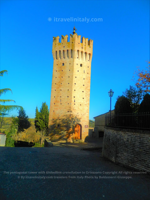 The pentagonal tower with Ghibelline crenellation in Ortezzano Copyright All rights reserved © By itravelinitaly.com travelers from Italy Photo by Baldassarri Giuseppe.