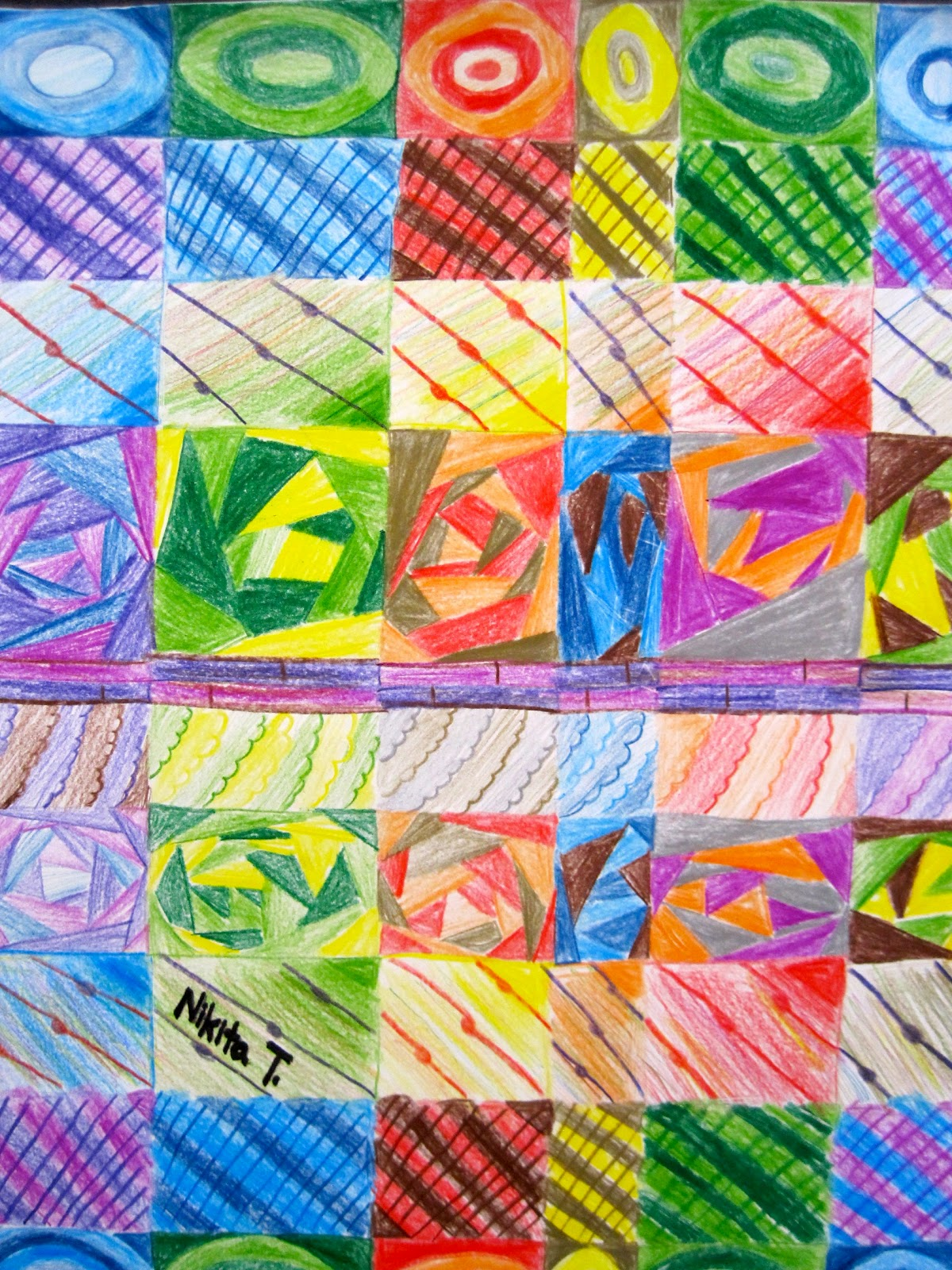 Pinewood Art Grid Art 8th Grade