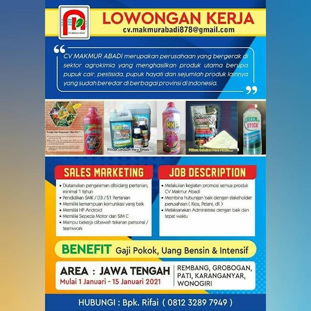 Lowongan Kerja Sales Marketing CV Makmur Abadi Rembang Grobogan Pati Karanganyar Wonogiri