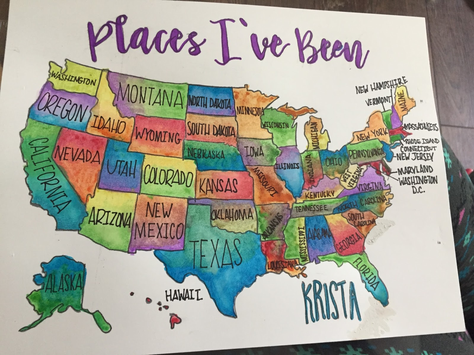 The Dabbling Crafter DIY Watercolor Scratch Off Map - Scratch off us state maps with pencil