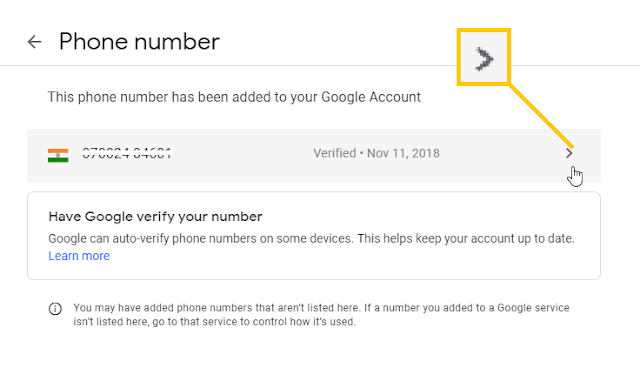 recovery info setting in google account