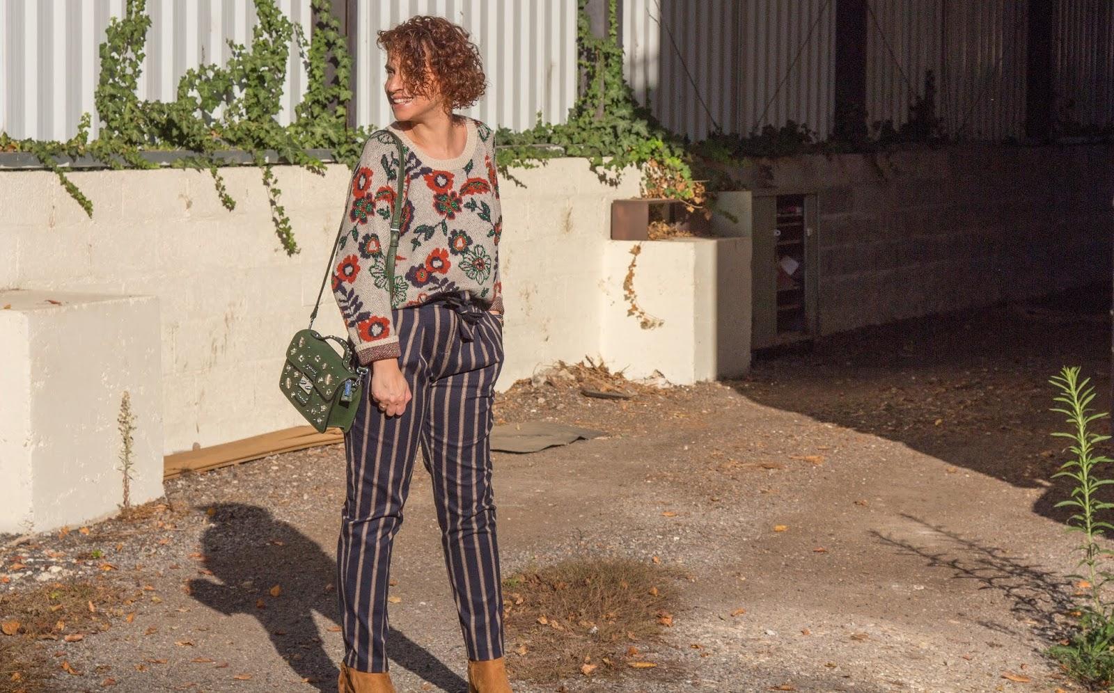 look-melange-imprimes-rayures-fleurs-promod