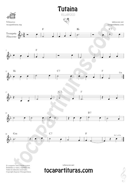 Trompeta y Fliscorno Partitura de Tutaina Villancico  Sheet Music for Trumpet and Flugelhorn Music Scores
