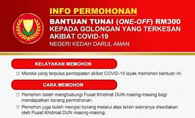 Permohonan Bantuan Tunai One-Off RM300 Kedah (COVID-19)