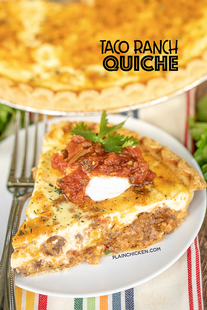 Taco Ranch Quiche on a plate