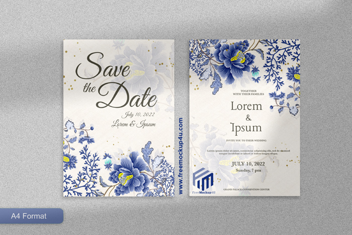 Elegant Wedding Invitation Template With Blue Flower