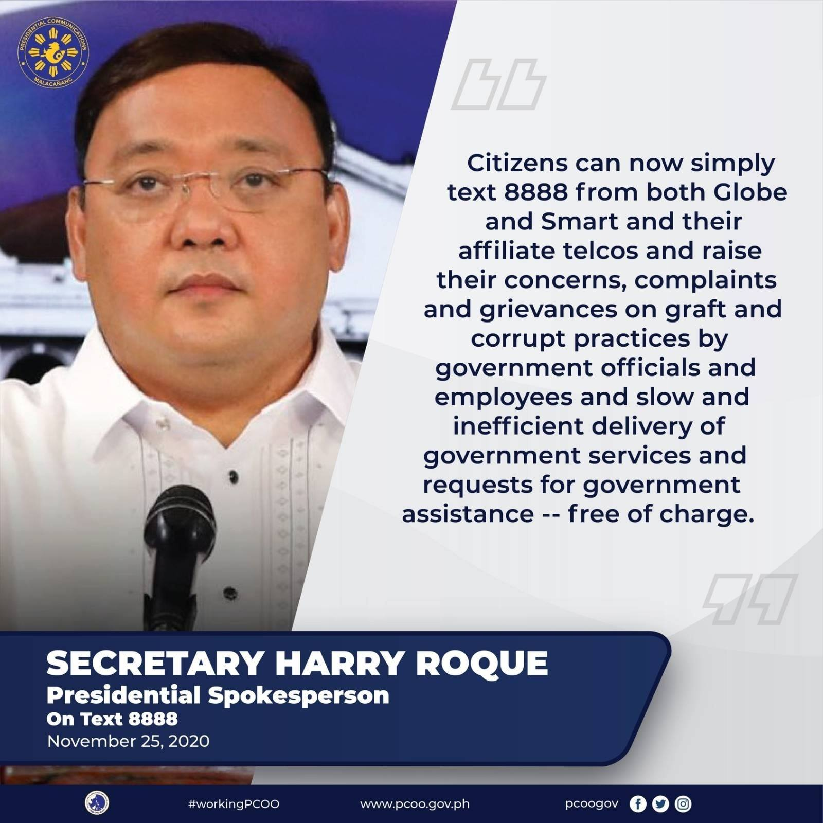Statement of Presidential Spokesperson Secretary Harry Roque on Text 8888