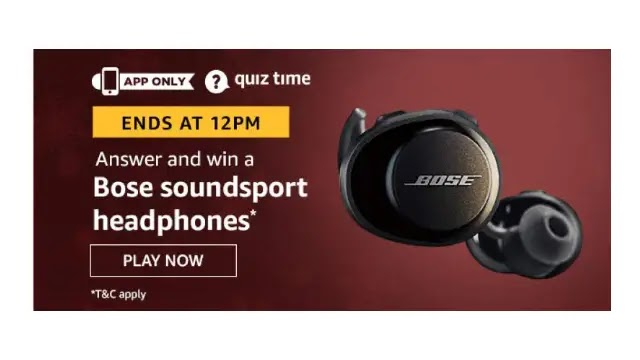 Amazon Quiz Answers For Today 9th June 2020 - Win Bose Soundsports Headphones
