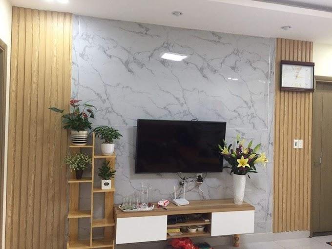 Mẫu vách tivi đẹp,Trang Trí Mảng tường sau tivi bằng nhựa PVC giả Đá Giả Gỗ Đẹp Nhất