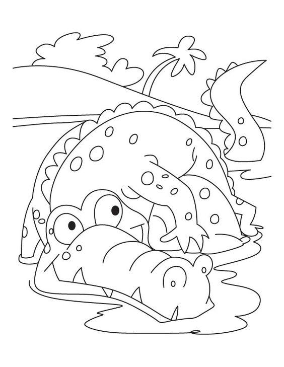Tranh tô màu cá sấu đẹp cho bé
