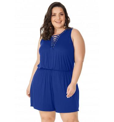 Macaquinho Viscolycra Azul Miss Masy Plus Size
