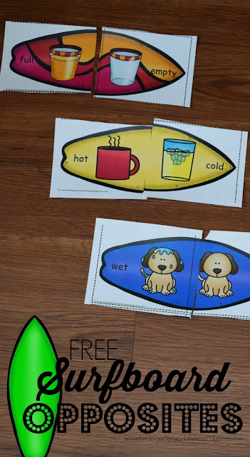 FREE Surfboard Opposite Puzzles - these free printable summer themed opposites puzzles are such a fun way for preschool, kindergarten, and first grade kids. Perfect for summer learning, spring / fall literacy centers! SO CUTE!