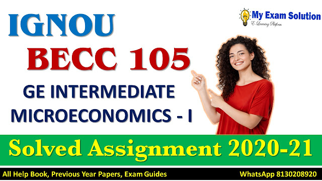 BECC 105 INTERMEDIATE MICROECONOMICS - I Solved Assignment 2020-21