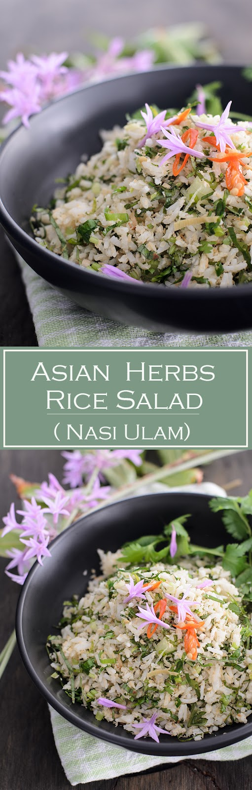 Asian Herbs Rice Salad is one of Malaysian favourite rice dish.  Nasi ulam is basically cooked rice mix with fresh herbs, green from the garden, along with the aromatic and flavourful toasted coconut.