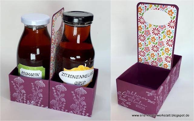 Flaschenhalter mit Sirupfläschchen als Geschenk Stampin' Up! www.eris-kreativwerkstatt.blogspot.de