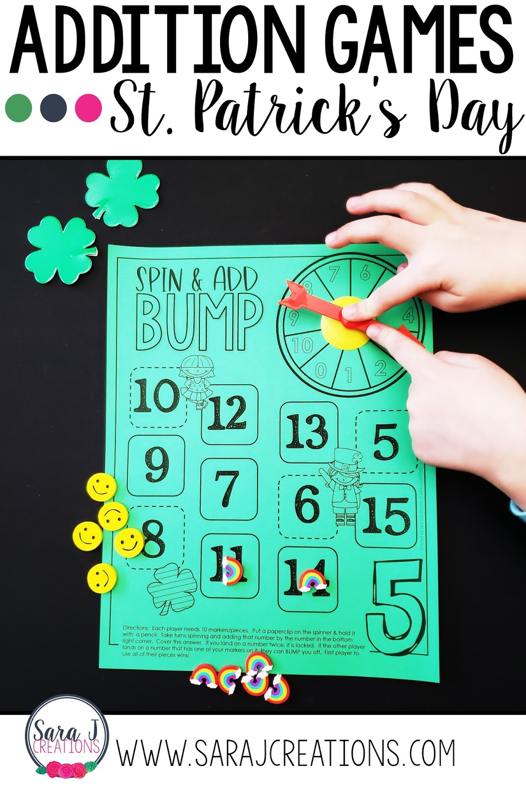 Practice addition facts with these fun St. Patrick's Day math games for kids. Perfect for kindergarten, first grade or second grade as students work on fact fluency.